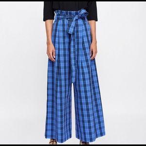 Zara Blue & black plaid high waisted wide leg pant